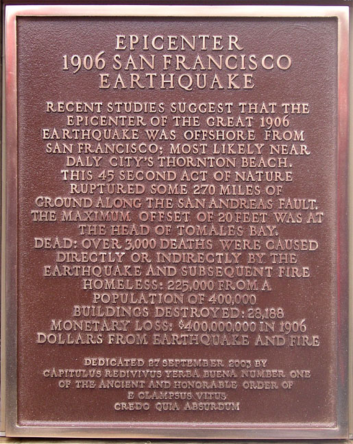[ 1906 Epicenter Plaque close-up. ]