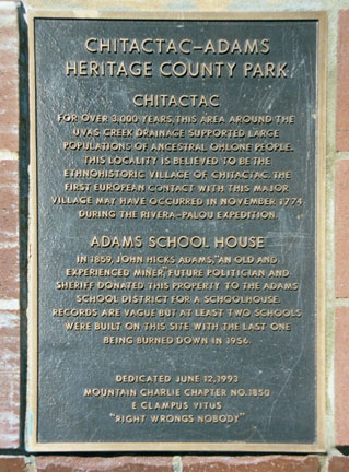 Ecv1850 Plaque Chitactac Adams Heritage County Park